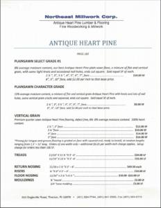 Antique Heart Pine Price List