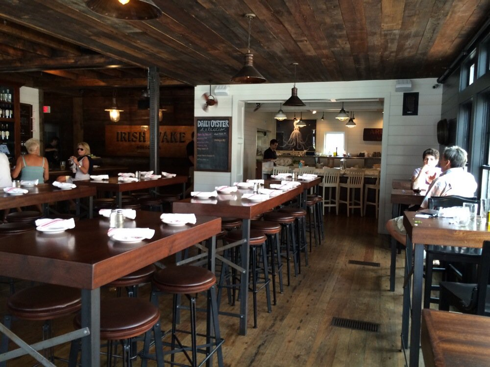 Newport's Midtown Oyster Bar antique heart pine character grade flooring